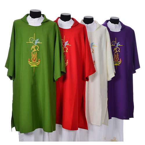 Deacon Dalmatic with embroidered flame, alpha and omega 100% polyester 1