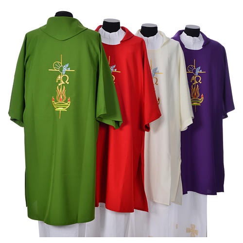 Deacon Dalmatic with embroidered flame, alpha and omega 100% polyester 2