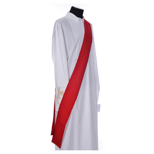 Deacon Dalmatic with embroidered flame, alpha and omega 100% polyester 9