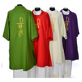 Dalmatic with embroidered loaves and fishes 100% polyester s2