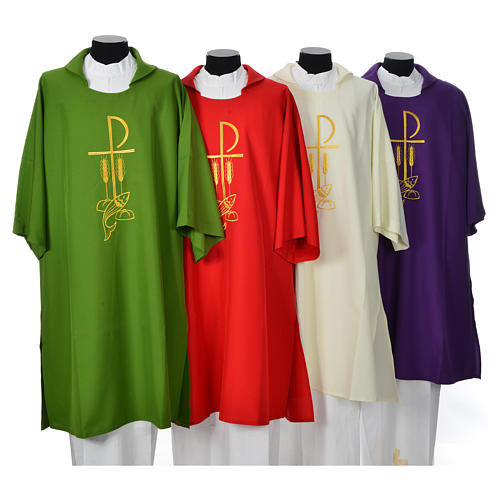 Dalmatic with embroidered loaves and fishes 100% polyester 1
