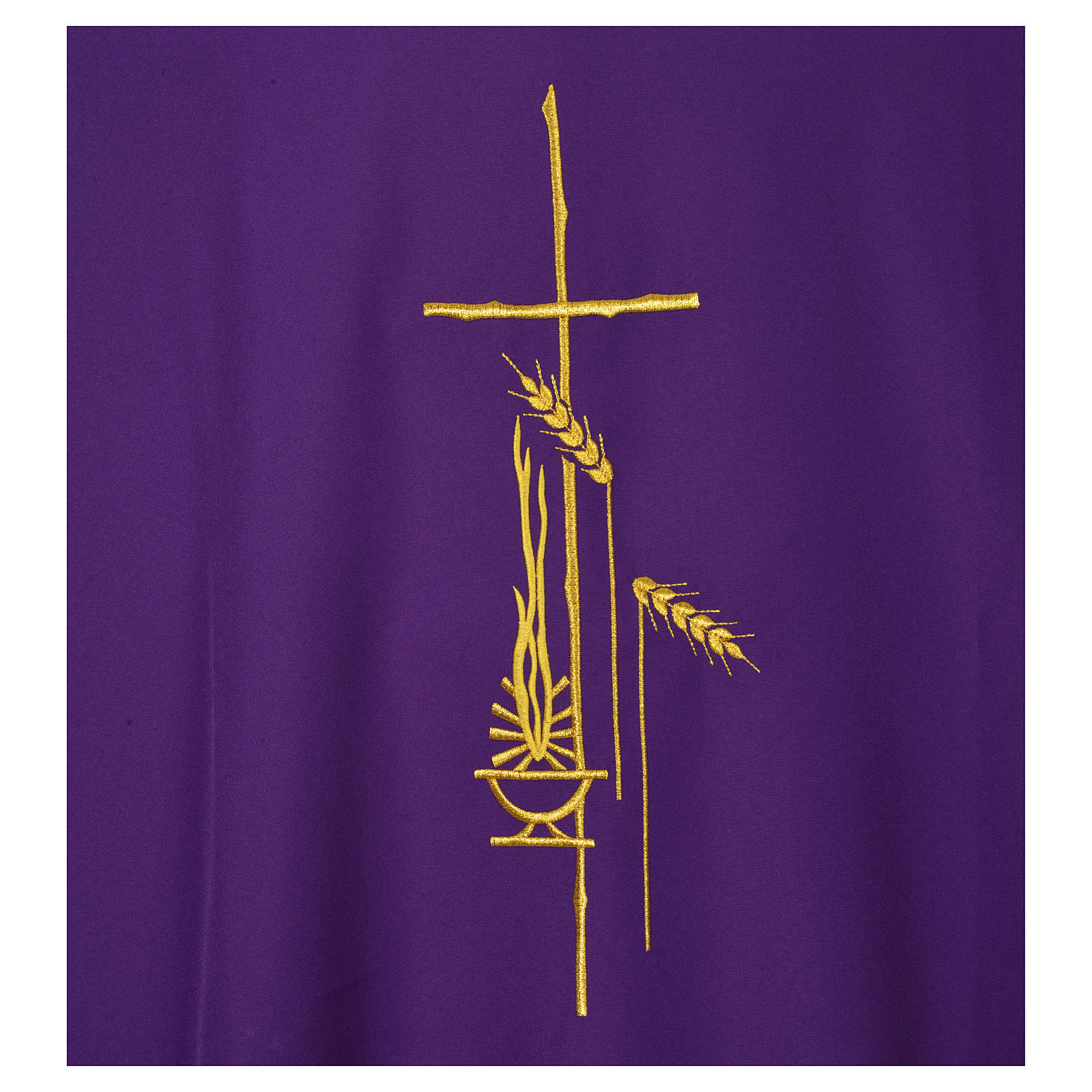 Dalmatic 100% polyester with cross, ear of wheat and flame 4