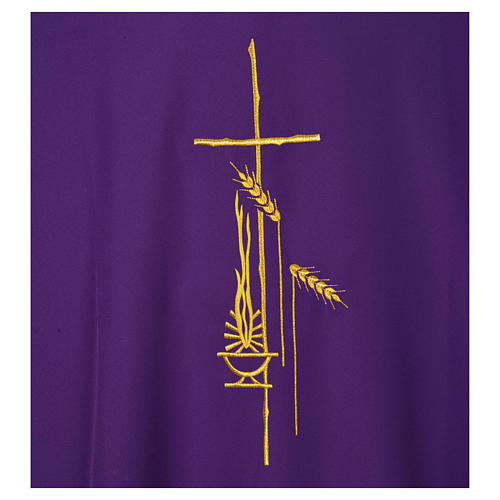 Dalmatic 100% polyester with cross, ear of wheat and flame 7