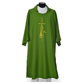 Eucharistic Dalmatic with cross, ear of wheat and flame 100% polyester s3