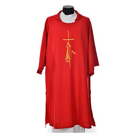 Eucharistic Dalmatic with cross, ear of wheat and flame 100% polyester s4