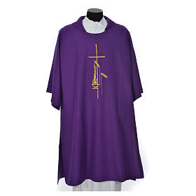 Eucharistic Dalmatic with cross, ear of wheat and flame 100% polyester s6