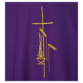 Eucharistic Dalmatic with cross, ear of wheat and flame 100% polyester s7