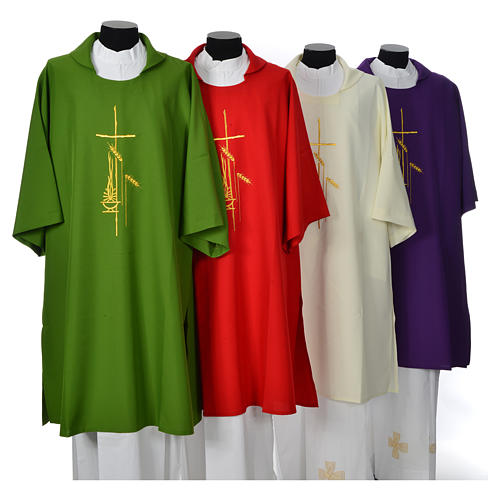 Eucharistic Dalmatic with cross, ear of wheat and flame 100% polyester 1