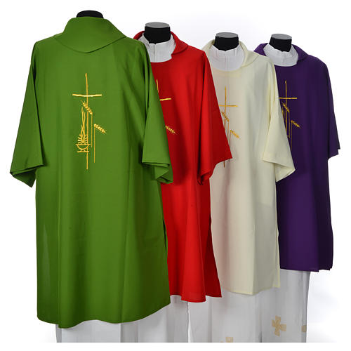 Eucharistic Dalmatic with cross, ear of wheat and flame 100% polyester 2