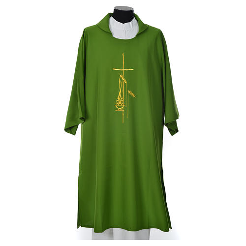 Eucharistic Dalmatic with cross, ear of wheat and flame 100% polyester 3