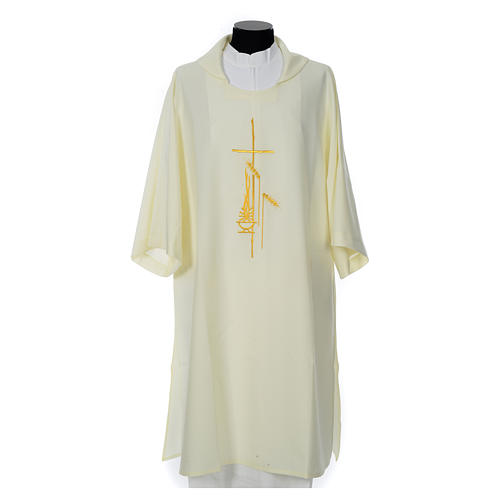 Eucharistic Dalmatic with cross, ear of wheat and flame 100% polyester 5