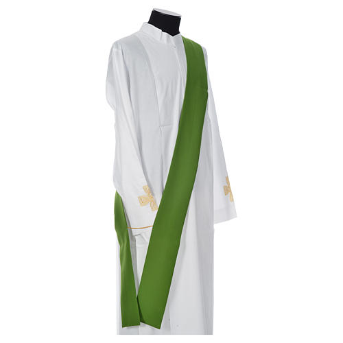 Eucharistic Dalmatic with cross, ear of wheat and flame 100% polyester 9
