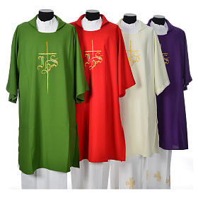 Religious Dalmatic 100% polyester with cross and IHS symbol s1