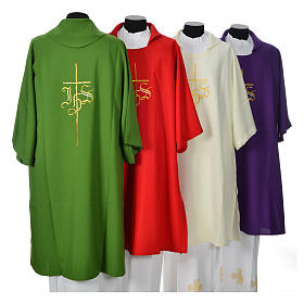 Religious Dalmatic 100% polyester with cross and IHS symbol s2
