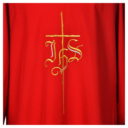 Religious Dalmatic 100% polyester with cross and IHS symbol 7