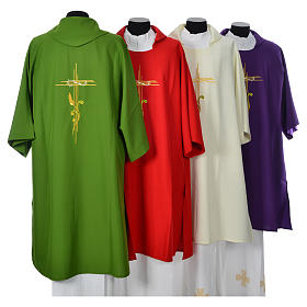 Dalmatic 100% polyester stylised cross, ear of wheat s2