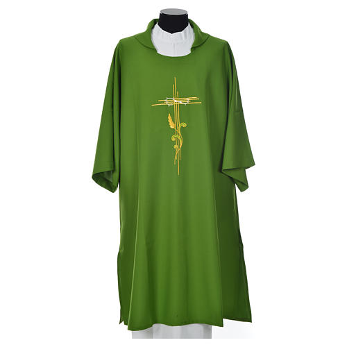 Dalmatic 100% polyester stylised cross, ear of wheat 6