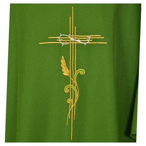 Dalmatic 100% polyester stylised cross, ear of wheat 7