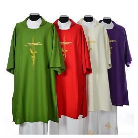 Ornaty rzymskie, kapy, dalmatyki: Dalmatyka stylizowany krzyż kłos 100% poliester