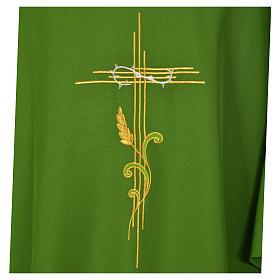 Dalmática 100% poliéster cruz estilizada trigo s7
