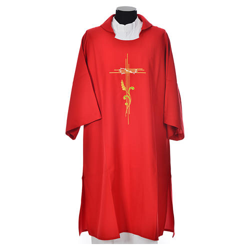 Deacon Dalmatic with stylized cross, ear of wheat 100% polyester 5