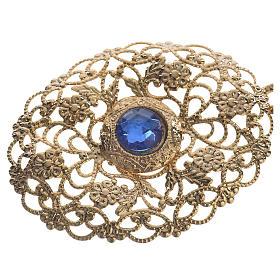 Gancio piviale dorato ovale pietra blu s2