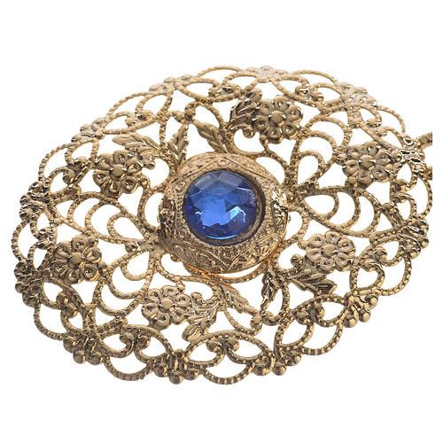 Gancio piviale dorato ovale pietra blu 2