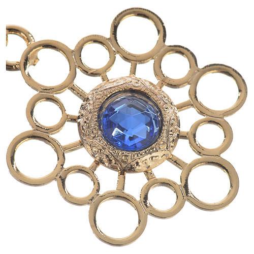 Gancio piviale dorato stella pietra blu 2
