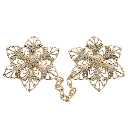 Cope clasp, gold-plated flower 1