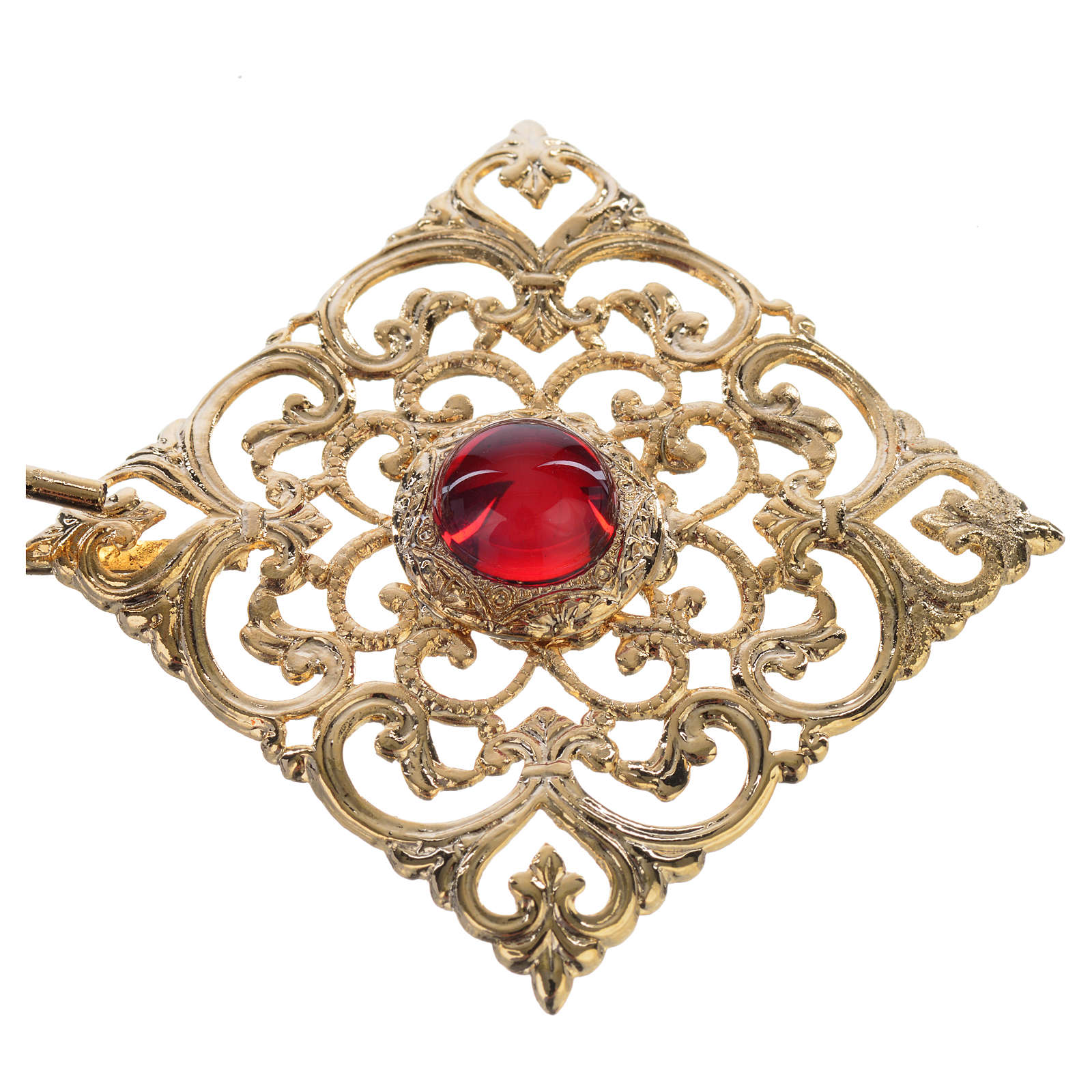 Gancio piviale dorato rombo pietra rossa 4
