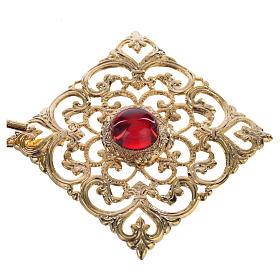 Gancio piviale dorato rombo pietra rossa s2