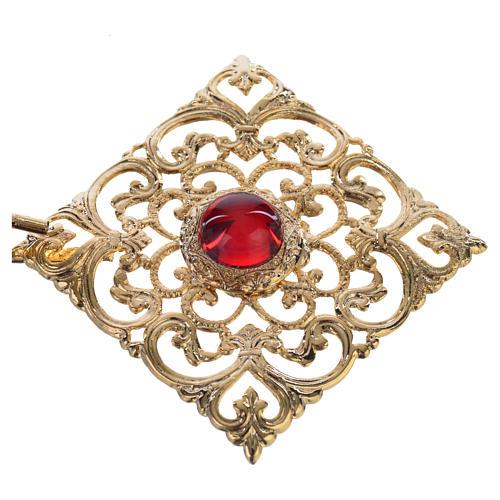 Gancio piviale dorato rombo pietra rossa 2