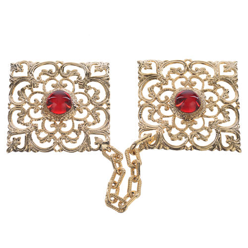 Cope clasp, golden rhomb, red stones 1