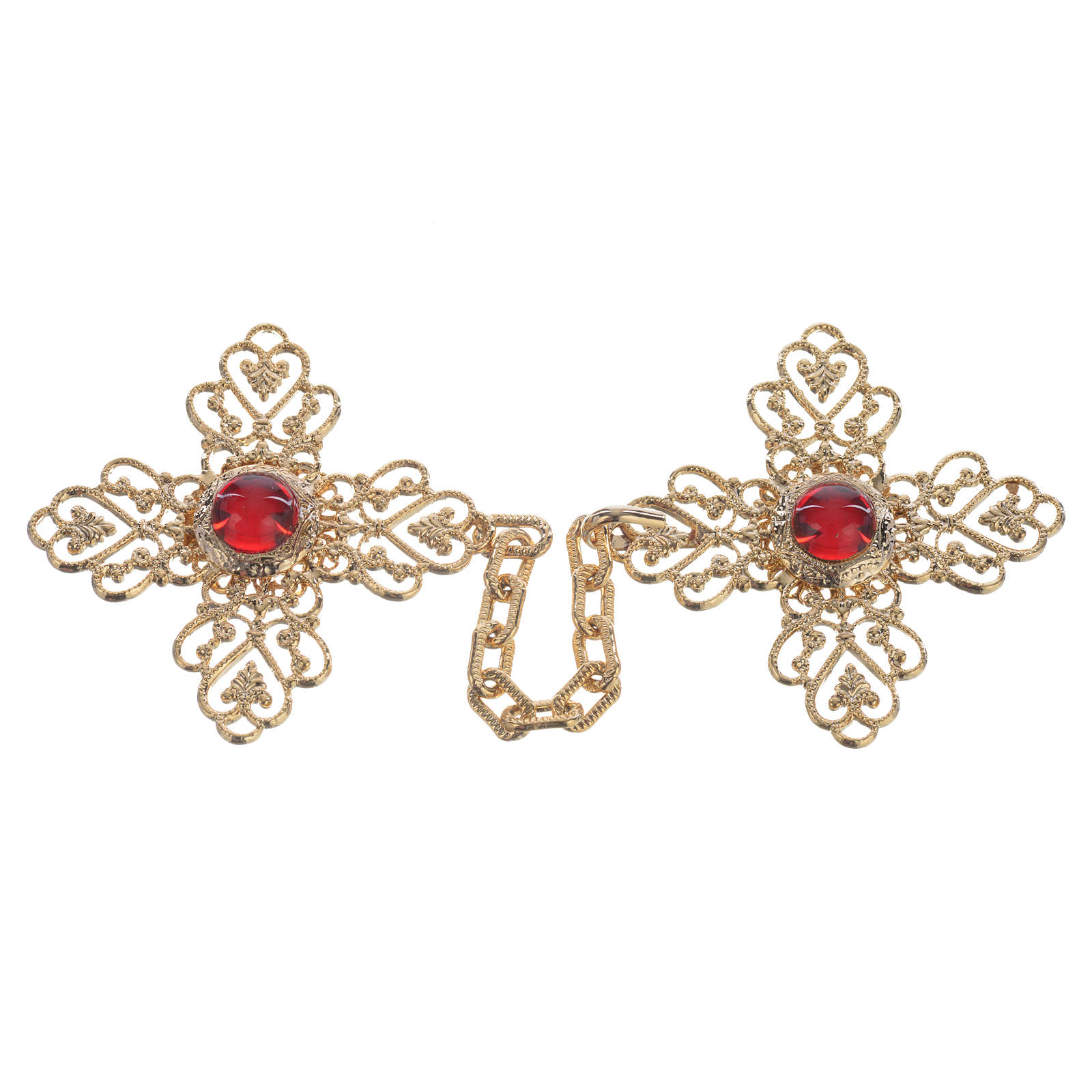 Broche pluvial cruz dorada piedra roja 4
