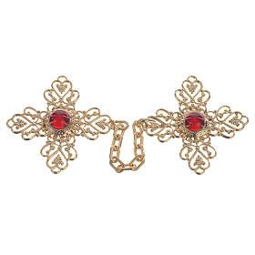 Broche pluvial cruz dorada piedra roja s1