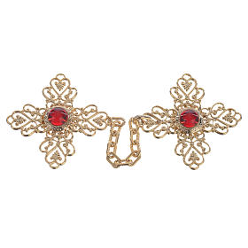 Gancio piviale croce dorata pietre rosse s1
