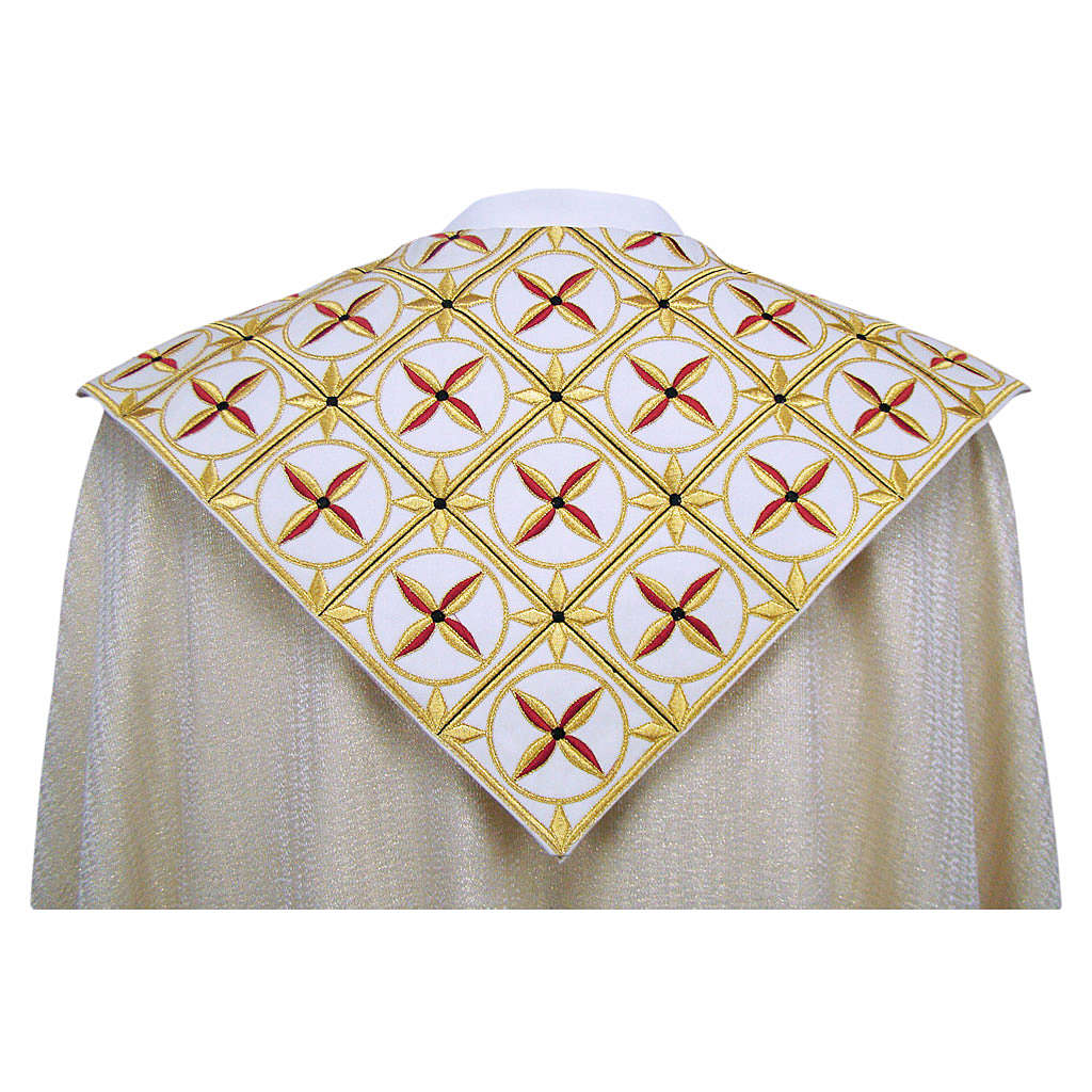 Cope in pure virgin wool with twisted thread and lurex, crosses 4