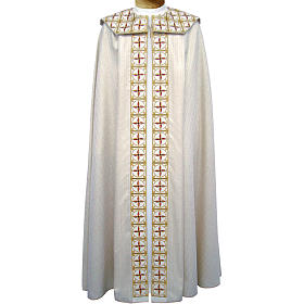 Cope in pure virgin wool with twisted thread and lurex, crosses s1
