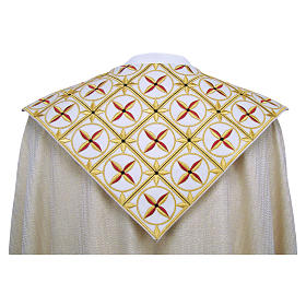 Cope in pure virgin wool with twisted thread and lurex, crosses s2