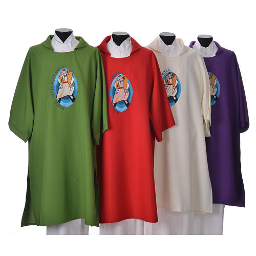 STOCK Dalmatic Jubilee Pope Francis with LATIN machine embroidery 1