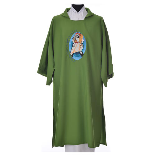 STOCK Dalmatic Jubilee Pope Francis with LATIN machine embroidery 6