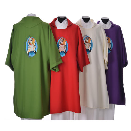STOCK Dalmatic Jubilee Pope Francis with LATIN machine embroidery 2