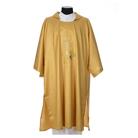 Gold dalmatic with embroided Chi-Rho chalice host s1