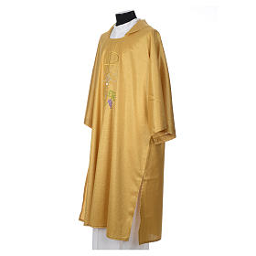 Gold dalmatic with embroided Chi-Rho chalice host s2