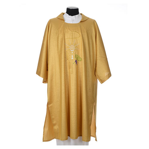 Gold dalmatic with embroided Chi-Rho chalice host 1