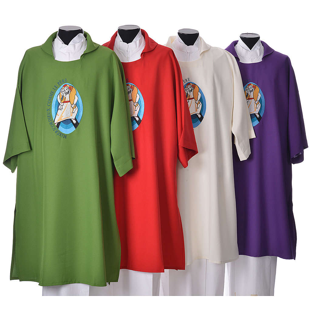 STOCK Dalmatic Jubilee of Mercy Pope Francis FRENCH logo embroided 4