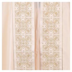 Capa pluvial 80% poliéster blanca nata bordados dorados s4