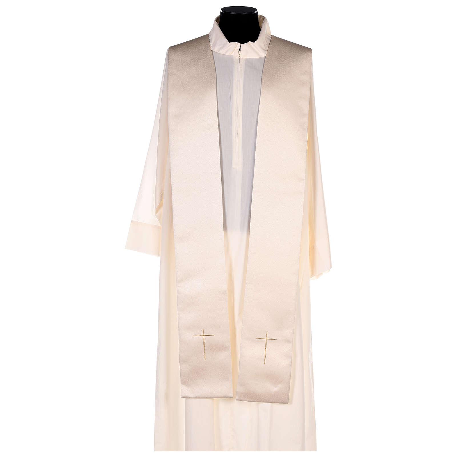 Chape 80% polyester blanc crème broderie dorée 4