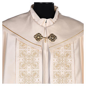 Cope in 80% cream polyester with gold embroidery s2