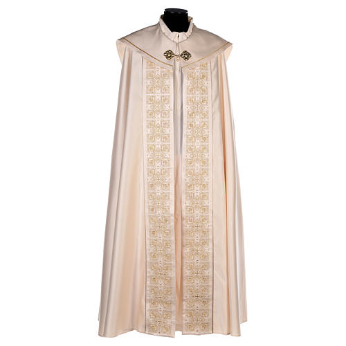 Cope in 80% cream polyester with gold embroidery 1